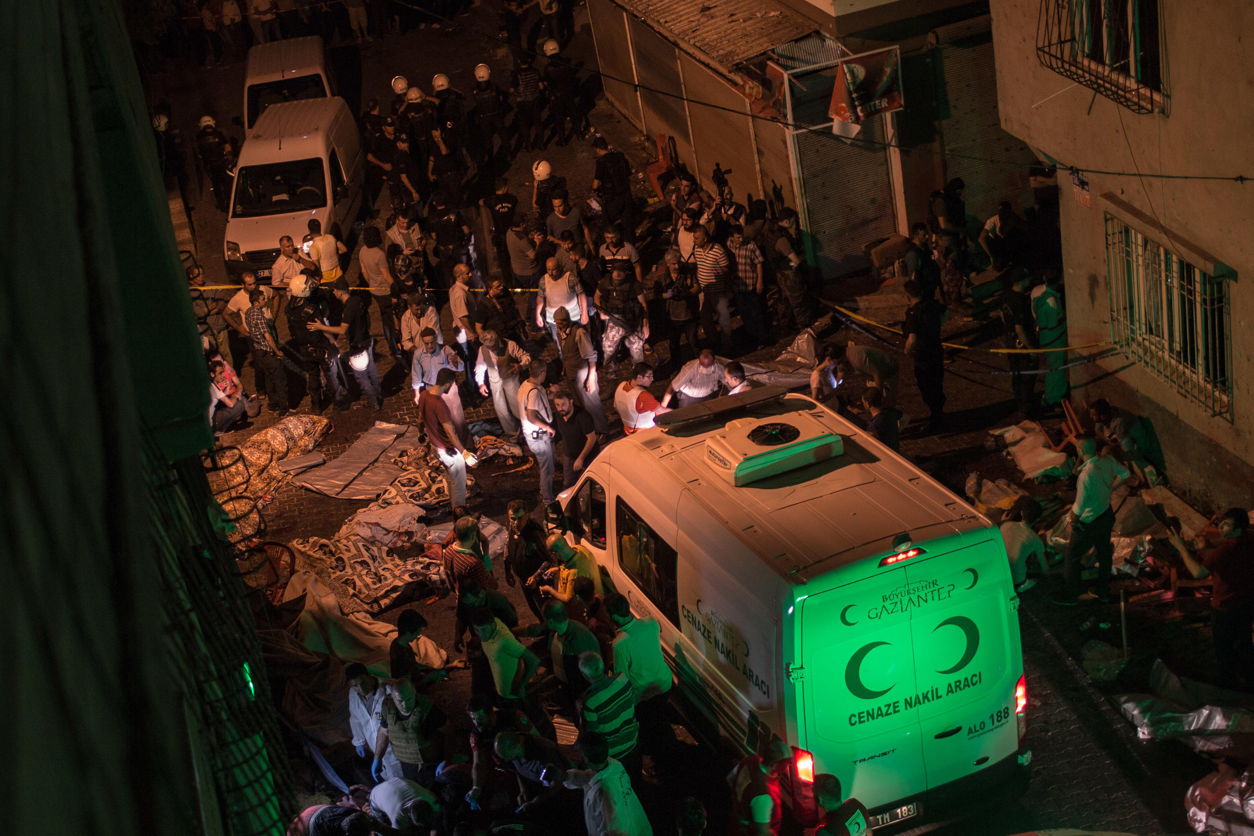 An ambulance arriving in Gazantiep, Turkey on 20 August 2016, after a bombing that killed 54.