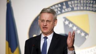 Ngoại trưởng Thụy Điển Carl Bildt trong một cuộc họp báo. Ảnh chụp ngày 05/04/2012.