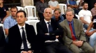 France's Syrian ambassador Eric Chevallier (L) with US counterpart Robert Ford in Syria 2011