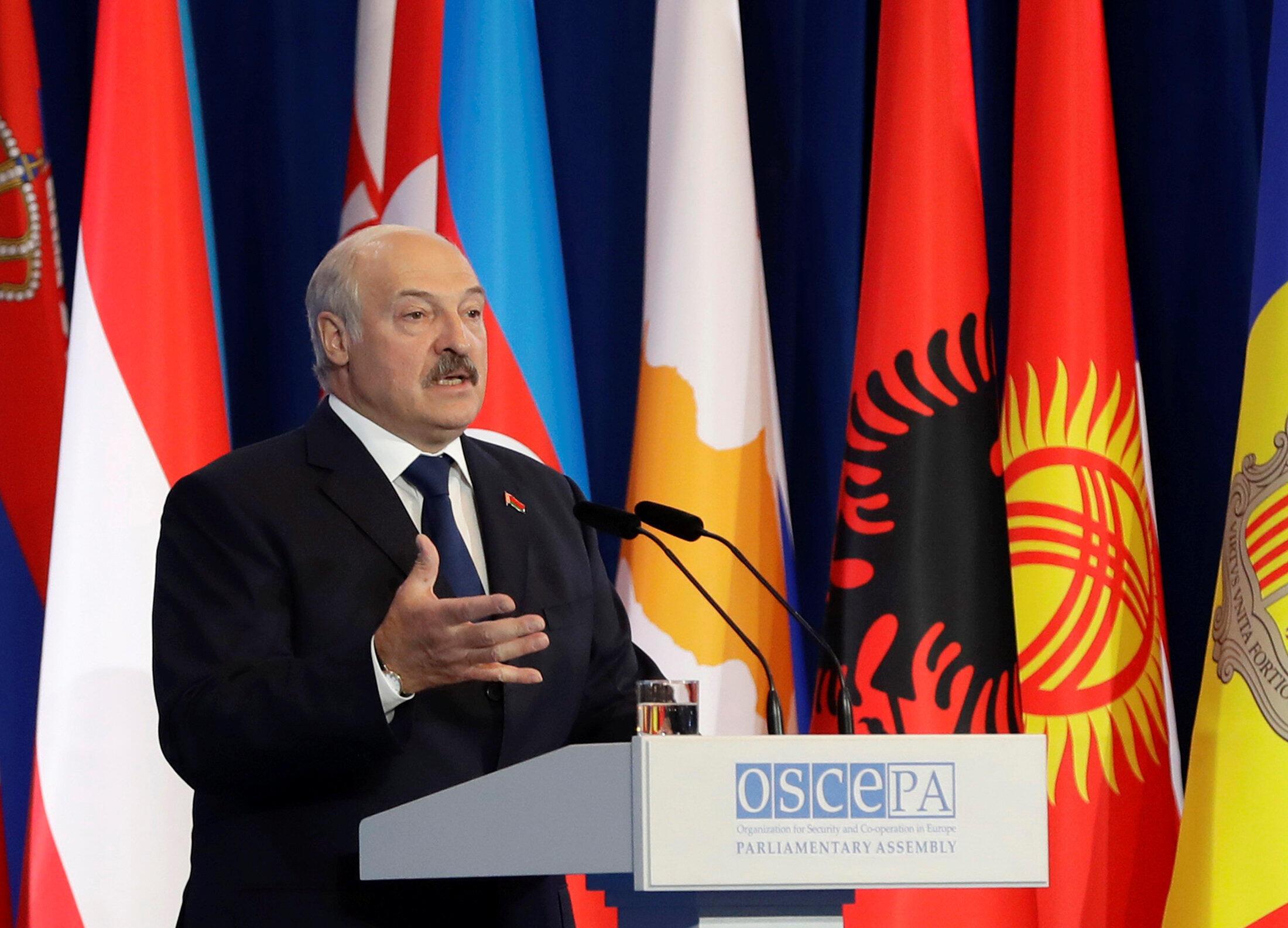 Президент Беларуси Александр Лукашенко выступает во время 26-й летней сессии Парламентской ассамблеи ОБСЕ, Минск, 5 июля 2017.