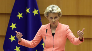 La présidente de la Commission européenne, Ursula von der Leyen, prononce son discours sur l'état de l'Union, le 16 septembre 2020 à Bruxelles.