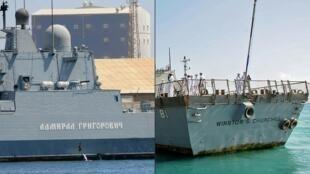 La frégate russe Admiral Grigorovitch à gauche et le destroyer américain USS WInston Churchill à droite, tous les deux amarrés à Port-Soudan.