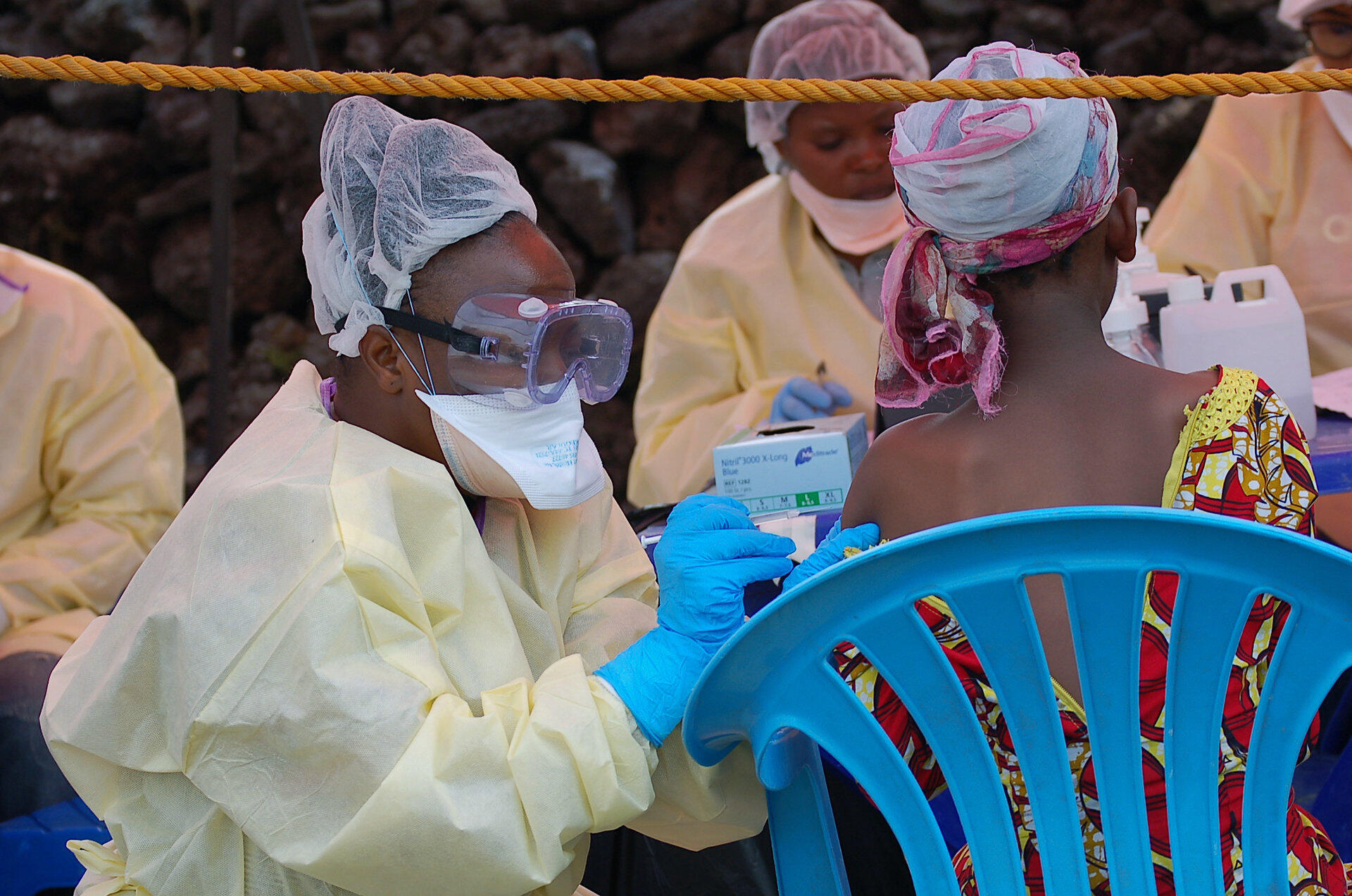 Opération de vaccination contre le virus Ebola à Goma le 7 août 2019.