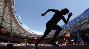 Un athlète s'entraîne sur la piste du stade national de Beijin, près de Pékin pour les championnats du monde d'athlétisme, le 21 août 2015.