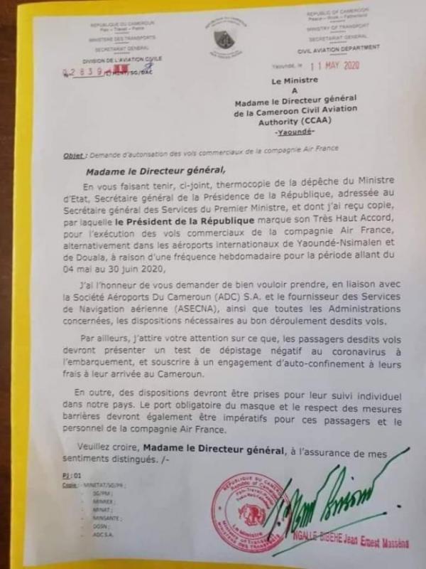 La lettre du ministre camerounais des Transports