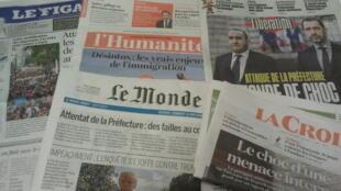 Primeiras páginas dos jornais franceses 07 de outubro de 2019