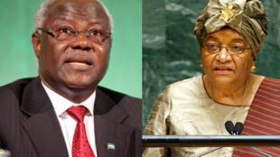 Ernest Baï Koroma (G) et Ellen Johnson Sirleaf (D) soutiennent le processus électoral en Guinée