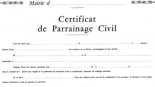 Certificat remis dans certaines mairies françaises après un baptème civil.