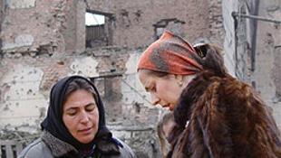 Село Катыр-Юрт после российской бомбардировки 2000 г.