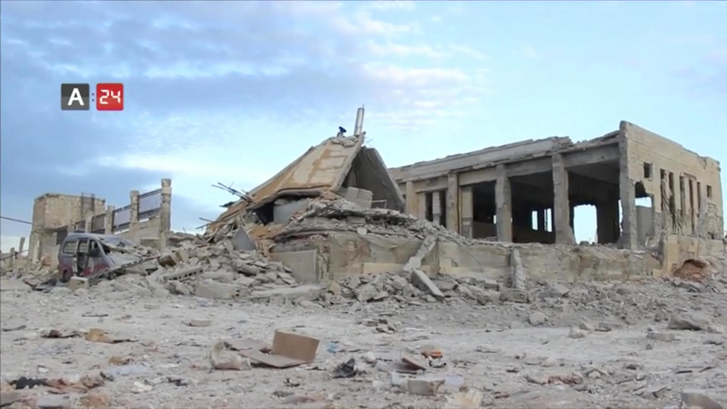 The destroyed building of Nabd Al-Hayat hospital that was hit by an air strike is seen in Hass, Idlib province, Syria May 6, 2019