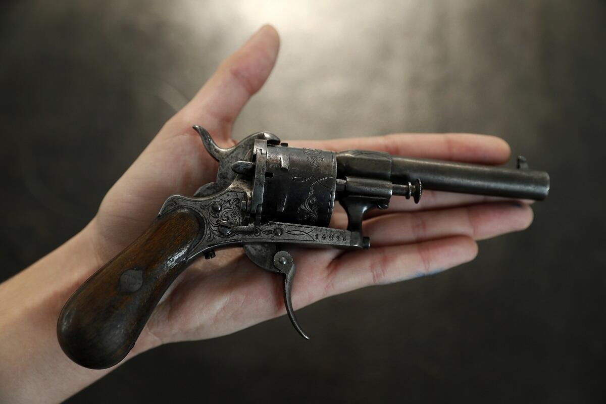 The revolver with which French poet Paul Verlaine tried to kill his lover Arthur Rimbaud.