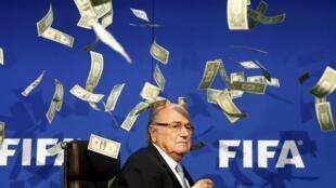 Le comédien britannique Lee Nelson une pluie de dollars sur Sep Blatter à l'occasion d'un comité exécutif de la Fifa.