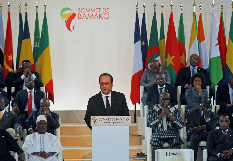 François Hollande s'exprimant le 14 janvier durant le sommet France-Afrique à Bamako.