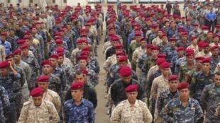 Des miliciens sunnites s'apprêtent à combattre l'organisation de l'Etat islamique, à Ramadi (Irak), le 16 novembre 2014.