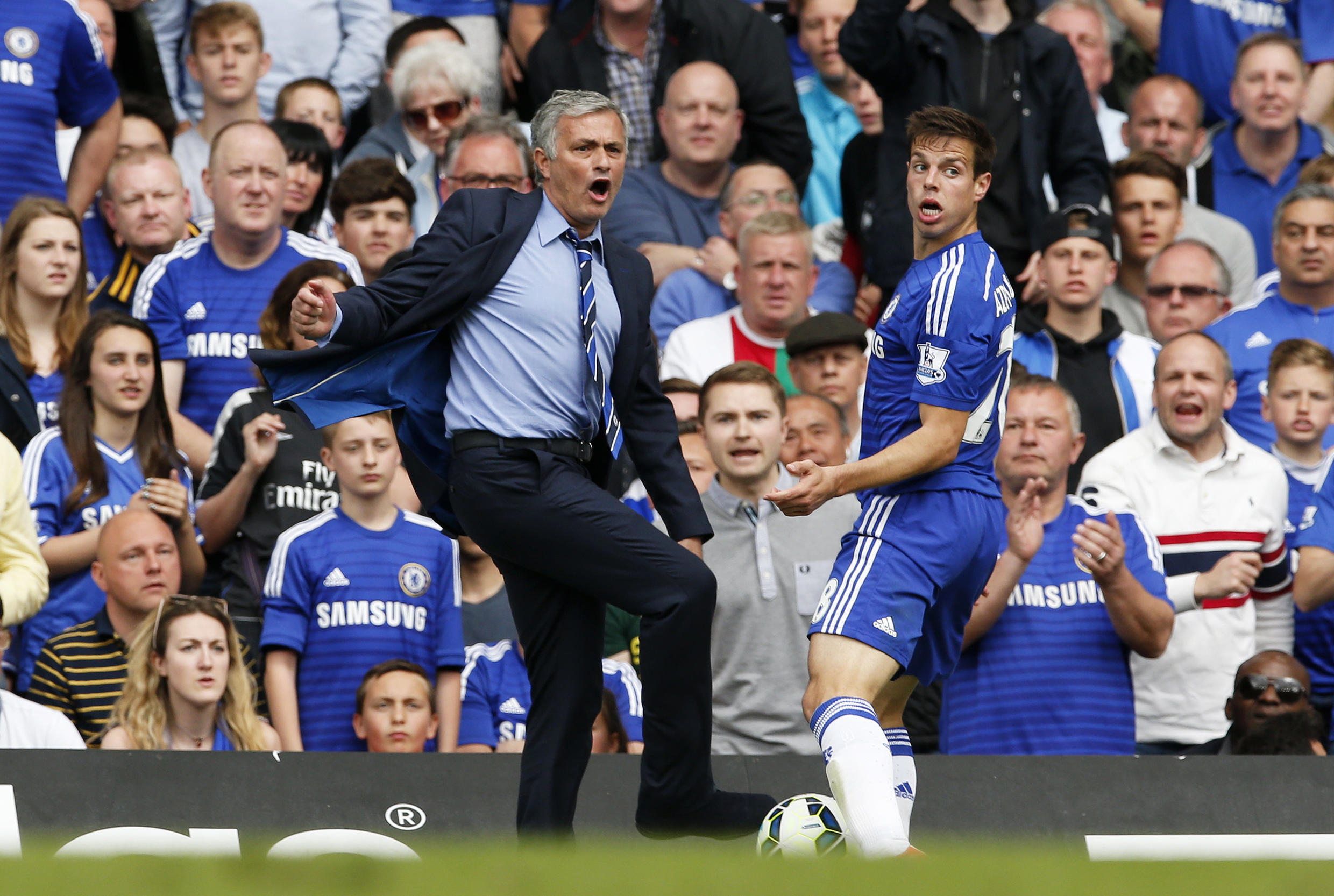 Chelsea manager Jose Mourinho wasn't happy about Fabregas being sent off in the match against West Bromwich Albion.