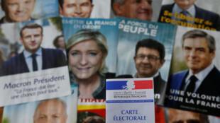 法国总统大选候选人相片及选民证   2017年4月22日