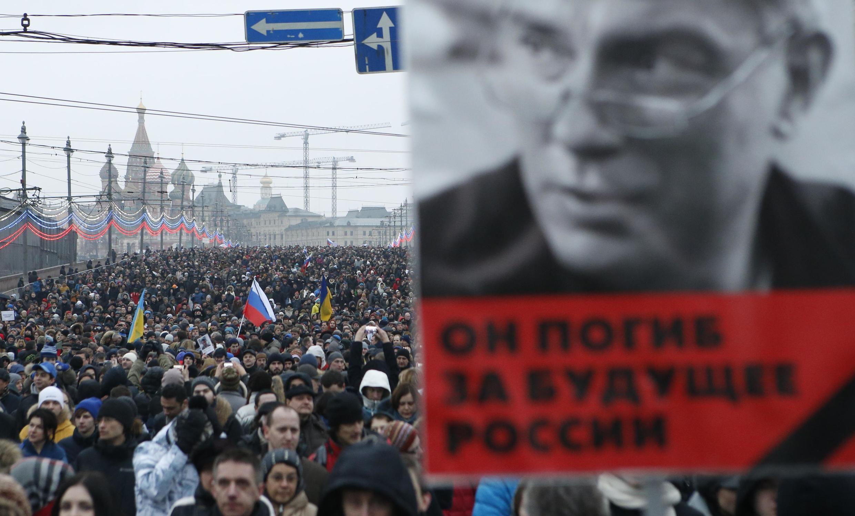 """""""Ele morreu pelo futuro da Rússia"""", diz cartaz em homenagem a Boris Nemtsov."""