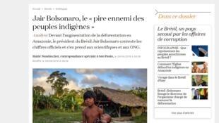 """Jornal disse que Bolsonaro é """"pior inimigo dos índios"""""""