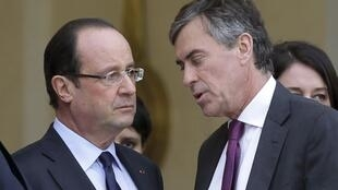 President François Hollande (L) with Jérôme Cahuzac earlier this year