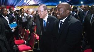 Le secrétaire général de l'ONU Ban Ki-moon et le président congolais Joseph Kabila, le 24 février 2016, à Kinshasa.