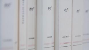 Des livres de la Collection Blanche de Gallimard exposés lors du Salon du Livre 2019.  © JOEL SAGET / AFP