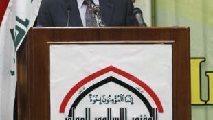 O primeiro ministro do Iraque discursa em Bagdá sobre a guerra sectária no país