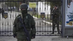 Ukrainian soldiers in the village of Perevalnoye in Crimea, Ukraine