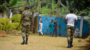 Soldiers patrol in Bafut, north-west Cameroon, in the English-speaking region, 15 November 2017.
