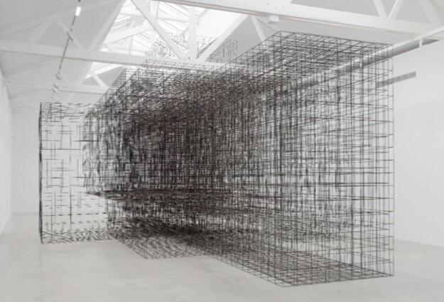 Sculpture en acier «Matrix II» 2014 d'Antony Gormley à voir au Royal Academy of Arts de Londres jusqu'au 3 décembre 2019.