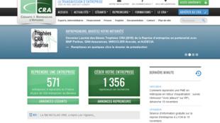 Site internet de l'association CRA, Cédants et repreneurs d'affaires.