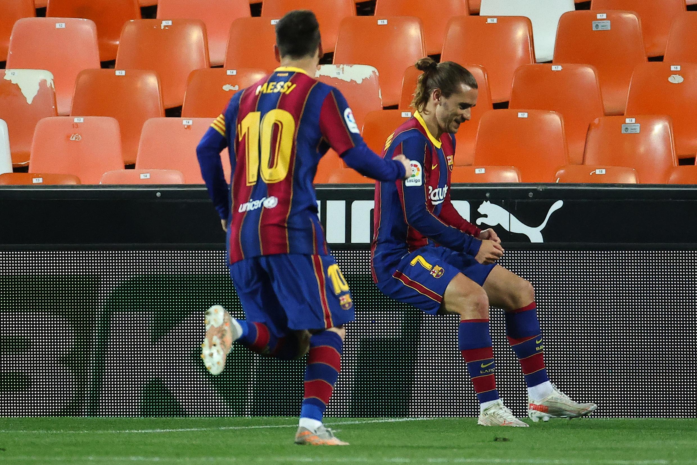 Lionel Messi da Antoine Griezmann na murnar cin kwallo
