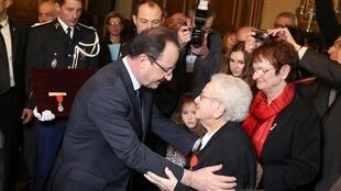 François Hollande at a ceremony to honour former resistance fighters in Tulle on Saturday