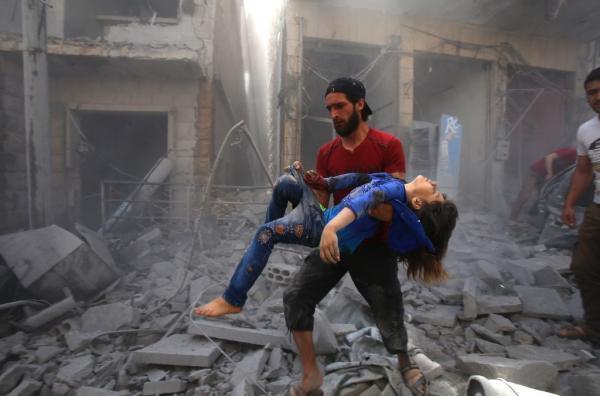 Après un bombardement dans la province d'Idlib en Syrie en mai 2019.