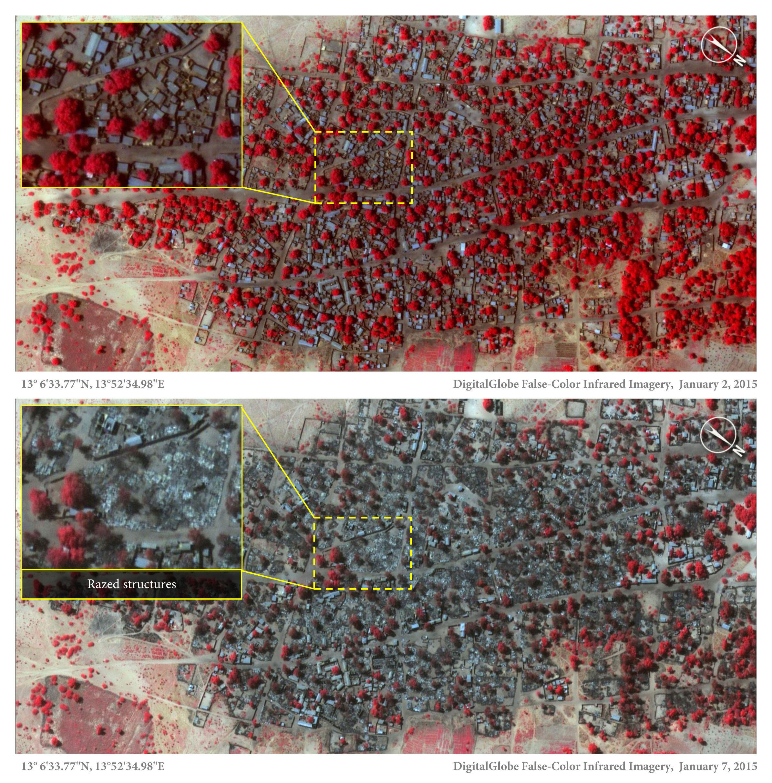 Ces deux photos satellite prises à cinq jours d'intervalle montrent que le village de Baga a été en partie rasé entre le 2 et le 7 janvier 2015.