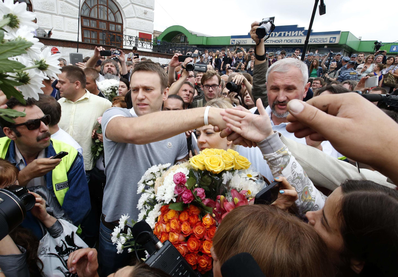 Алексей Навальный на Ярославском вокзале 20 июля 2013.