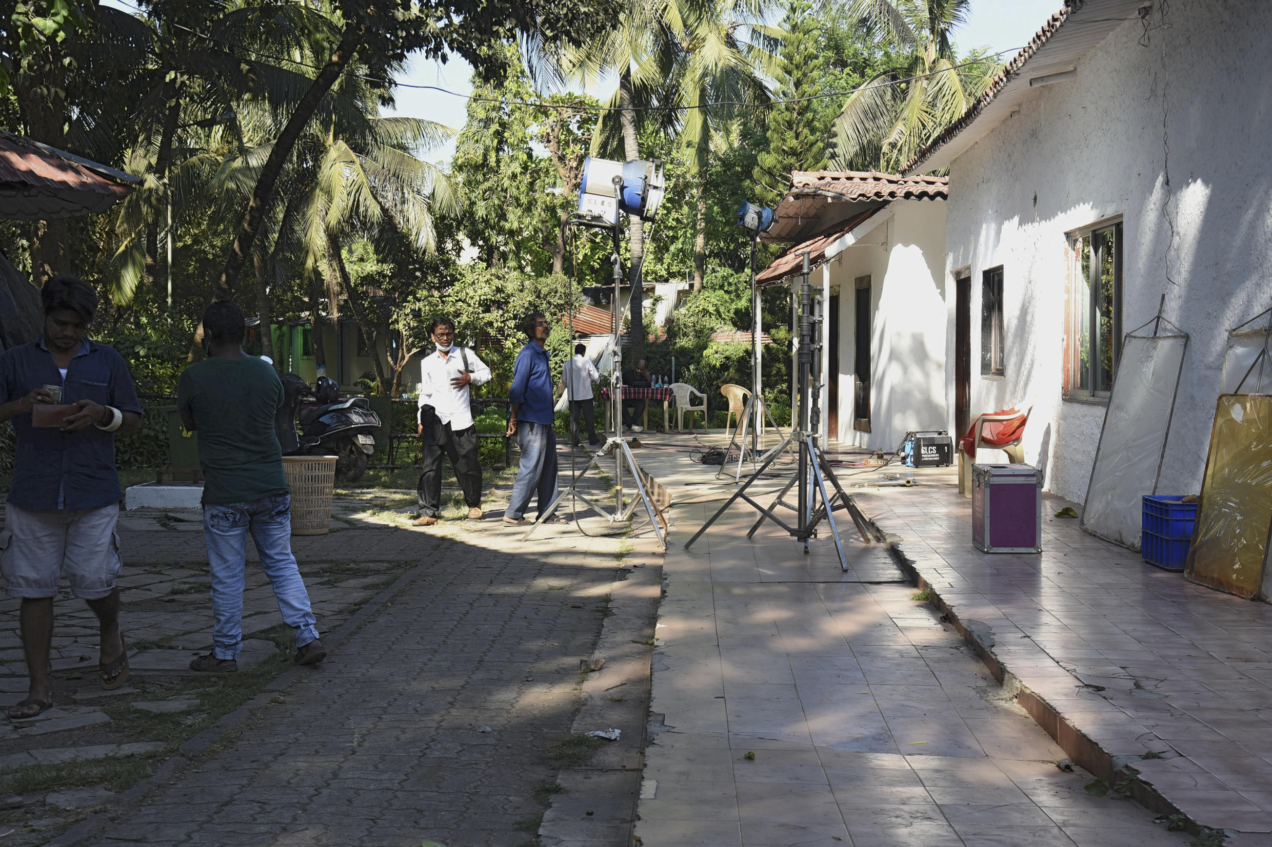 A lighting crew works on a Bollywood film set on Madh Island off the coast of Mumbai. The Indian film industry is hoping to bounce back in 2021