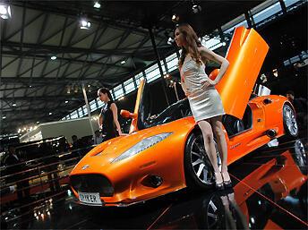 Le modèle «Spyker C8» au Salon de l'automobile de Shanghai, le 20 avril 2011.