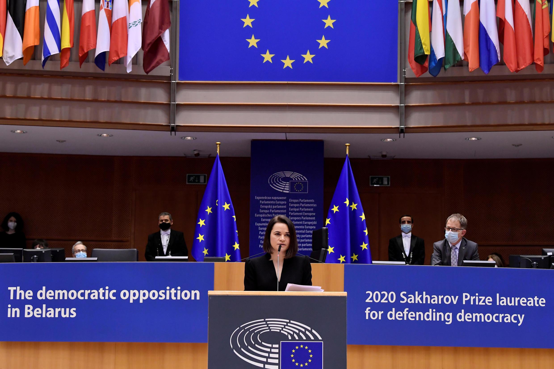 """На заседании Европарламента 16 декабря прошла церемония вручения премии Сахарова """"За свободу мысли"""" за 2020 год, которой удостоились активисты оппозиции Беларуси."""
