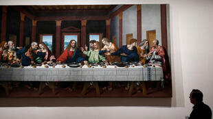 Le tableau «La dernière Cène». Exposition «Léonard de Vinci» au musée du Louvre à Paris, le 20 octobre 2019.