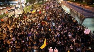 Des manifestations ont eu lieu à Bogota, en Colombie le 27 novembre 2019.