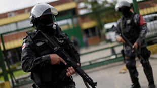 Soldiers of the military police during a security operation outside a prison in Manaus, Brazil