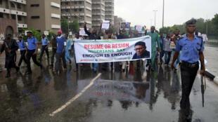 Des supporters du mouvement Our Mumu Don Do dans les rues d'Abuja, le 7 août 2017.