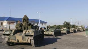 驻停在罗斯托夫地区的俄罗斯坦克部队