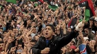Anti-Kadhafi protesters in Benghazi Friday