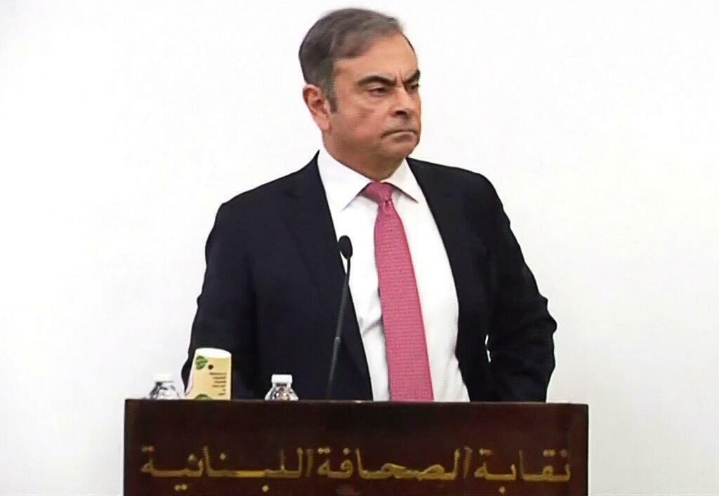 Carlos Ghosn at his first public appearance, in Beyrouth, 8 January 2020.