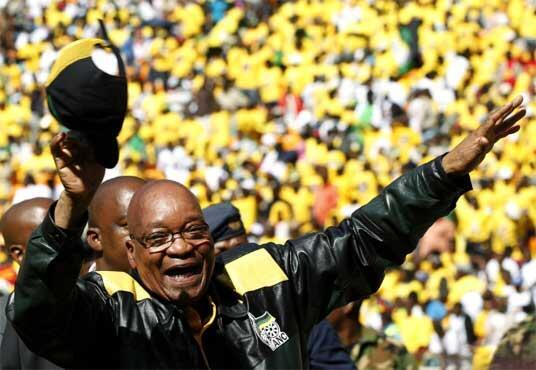 Jacob Zuma arrives at the campaign's final rally in Soweto