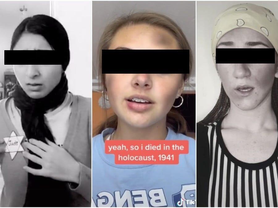 Creadores de Tik Tok haciéndose parsa por víctimas del Holocausto.