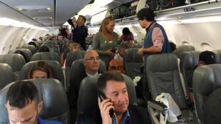 Les passagers du premier vol commercial régulier entre les Etats-Unis et Cuba, le 31 août 2016.