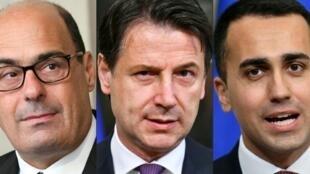 Jagoran jam'iyyar Democratic Party Nicola Zingaretti, da Fira ministan Italiya Giuseppe Conte tare da mataimakinsa Luigi Di Maio.