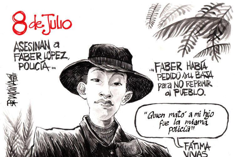 Uno de los dibujos de personas asesinadas en las protestas en Nicaragua.
